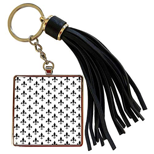 (3dRose InspirationzStore Fleur de lis - Black fleur de lis on white pattern - black and white classic classy stylish traditional elegant - Tassel Key Chain (tkc_120182_1))