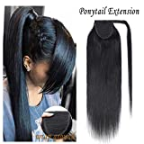 Wrap Around Human Hair Ponytail Extensions for Women Clip in Remy Human Hair Ponytail Hairpiece Long Straight Silky 16Inch #01 Jet Black