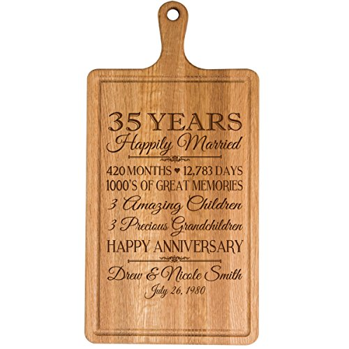 Personalized 35th Year Anniversary Gift for Him Her wife husband Couple Cheese Cutting Board Customized with Year Established dates to remember for Wedding Gift ideas by Dayspring Milestones