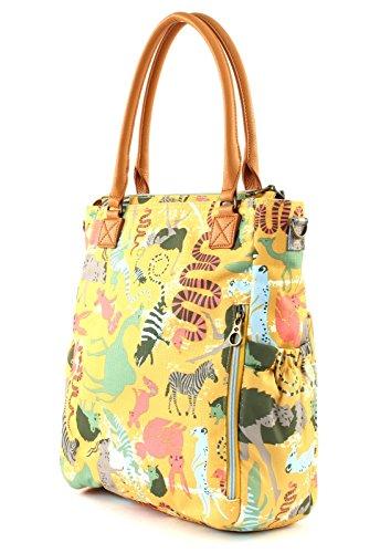 Amarillo Sahara Bolso Shopper patrón de los Sunrise bebé señoras de Zoo las animales Bolso Oilily 6HZqff