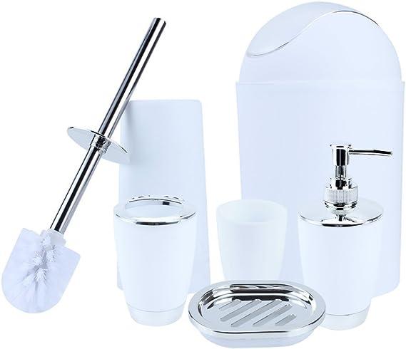 Yosoo Set di 6 accessori di plastica per bagno di lusso Bottiglia lozione Porta scopino Porta spazzolini Portasapone Scopino Cestino White