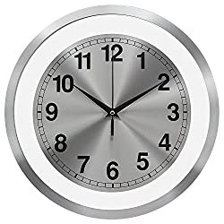 TKF 12 Aluminum Modern Contemporary Wall Clock with Free Floating Concentric Silver Face Dial