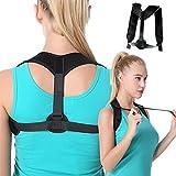 Posture Corrector, Herwiss Adjustable Back Brace for Women and Men, Improves Posture and Provides Lumbar Support, Clavicle Cervical Strap for Upper Back, Shoulder & Neck Pain Relief