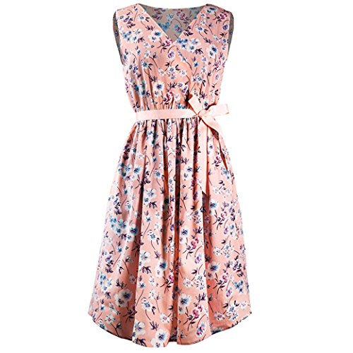 ZIYOU Sommer Strand Kleider Damen, Geblümt Blumendruck V-Ausschnitt  Ärmellos Knielang Kleid mit Gürtel c86bcf5178