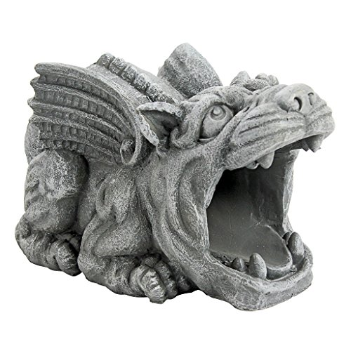 Design Toscano Roland the Gargoyle Gutter Guardian Rain Downspout Extension Statue, 10 Inch, Polyresin, Full Color Down Statue