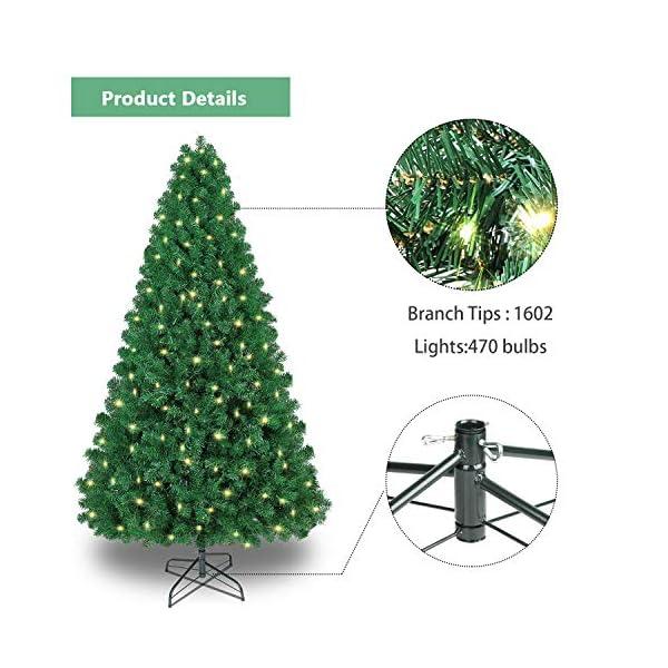 SHareconn Albero di Natale Artificiale, PVC Ago di Pino, Facile Montaggio, Supporto in Metallo, 1602 Rami, 470 LED, Verde Deco 7.5ft 3 spesavip
