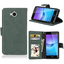 Huawei Y5 2017 / Y6 2017 Case, SATURCASE Retro Frosted PU Leather Flip Magnet Wallet Stand Card Slots Protective Case Cover for Huawei Y5 2017 / Y6 2017 (Green)