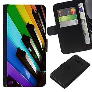 KLONGSHOP // Tirón de la caja Cartera de cuero con ranuras para tarjetas - Llaves del piano Colorful - Samsung Galaxy A3 //