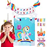 Gooidea Unicorn Party Supplies Set - Happy Birthday Banner, Unicorn Pin The Horn Game, Headband, Welcome Sign Card - 4-in-1 Fantasy Unicorn Favors Kit Magic Rainbow Birthday Party Decorations for Kids