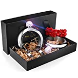 Booze Flask Bangle Bracelet with Funnel in Gift Box Packaging-Handmade Crystal Lid 304 Stainless Steel Wine Alcohol Liquor Hidden Flask for Women Girls in Party Club Bar, 2pcs