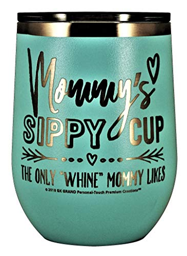 MOMMYS SIPPY CUP WINE GLASS GIFT TUMBLER - Engraved Stainless Steel Stemless Wine Tumbler 12 oz Vacuum Insulated Travel Coffee Mug Hot Cold Drink Mothers Day Christmas Birthday Mom (Pastel - Teal)