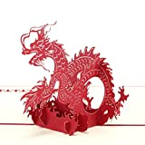 id-Birthday Cards Paper Craft Pop-Up Chinese Dragon 3D Greeting Cards