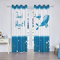 Fassbel 2 Panel Set Digital Printed Blackout Curtains for Bedroom Living Dining Kids Youth Room Window Drapes (W54× L63, Sea Lion and Dolphin)