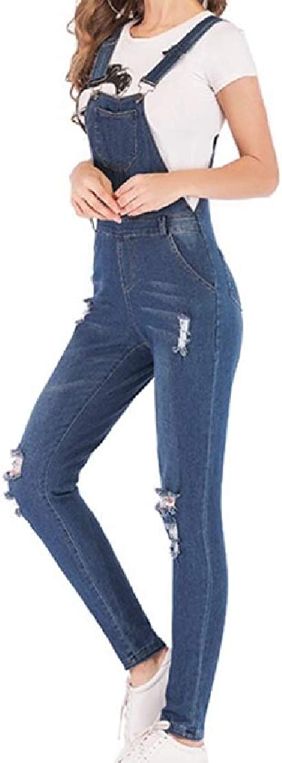 UUYUK Women Bodysuit Plus Size Destroyed Ripped Casual Denim Overalls