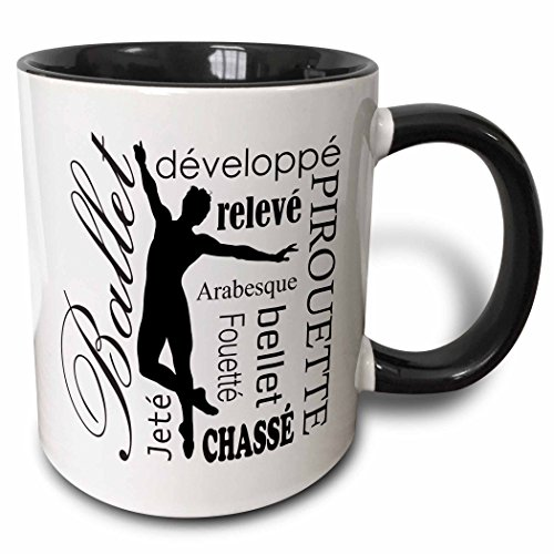 3dRose 219659_4 Ballet Words And Terminology Mug, 11 oz, Black