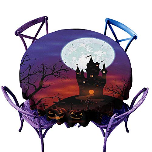 ScottDecor Halloween BBQ Tablecloth Gothic Haunted House Castle Hill Valley Night Sky October Festival Theme Print Multicolor Tablecloth on Round Table D 54