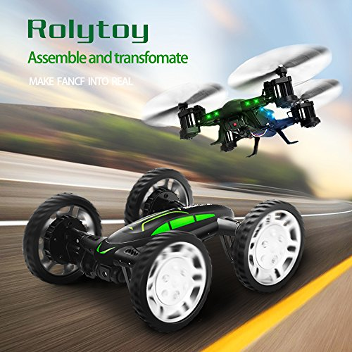 Rolytoy RC Drone Quadcopter Air-Road Car Buggy with HD Live Camera Wifi Mobile Handy Remote Control 360 ° Flip Flying Car LED Lighting 4 Channels 6-Axis Gyro Headless Mode