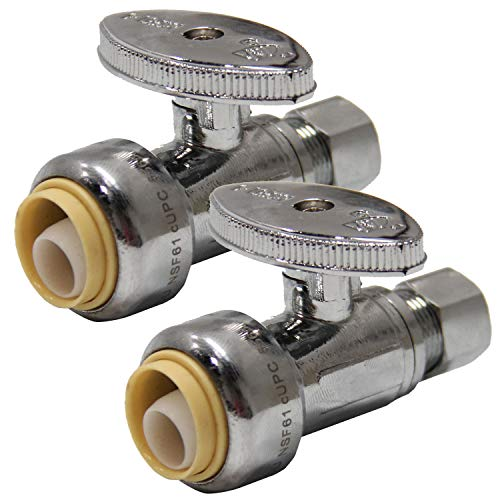 (Pack of 2) EFIELD Höger Push Fit 1/4 Turn Straight Stop Valve Water Shut Off 1/2 Push x 3/8 Inch Compression Chrome (2)