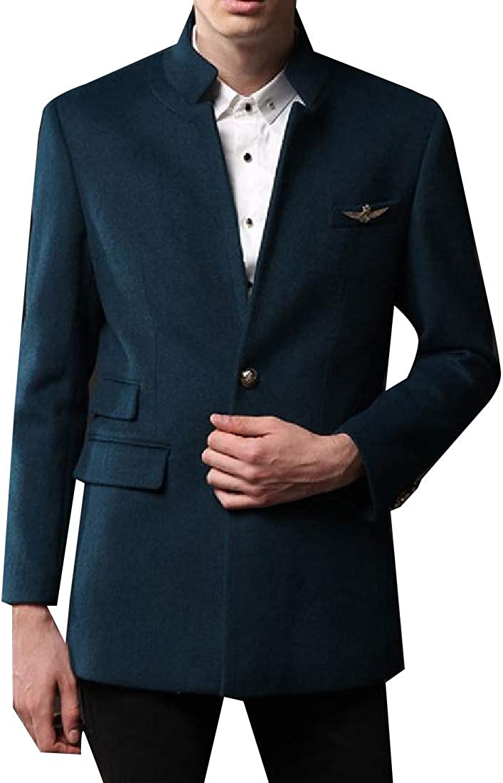 CuteRose Mens 2 Button Woolen Trench Coat Outwear Stand Up Collar Jacket Coat