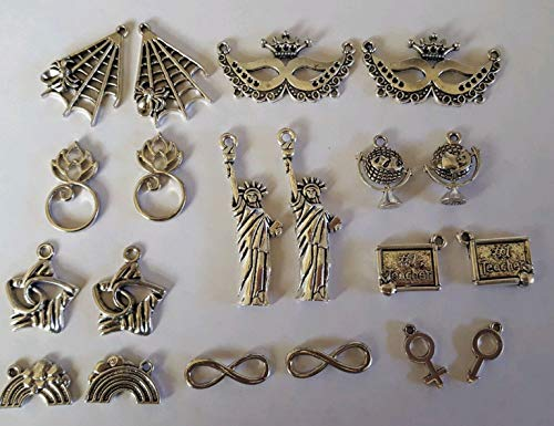 Pendant Jewelry Making Mixed Size & Tone Miscellaneous Pendant Charms and Connectors 20PCS