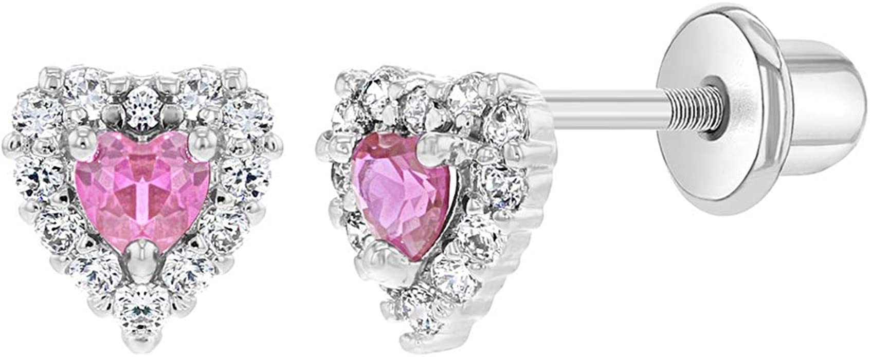 Details about  /Rhodium Plated Clear Crystal Heart Screw Back Earrings for Kids