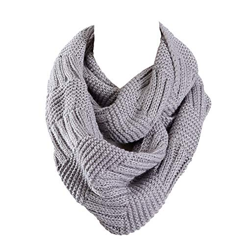Marte&Joven Winter Gray Infinity Scarf for Ladies Women Fashion Knitted Circle Loop Scarves Thick Warm, 1