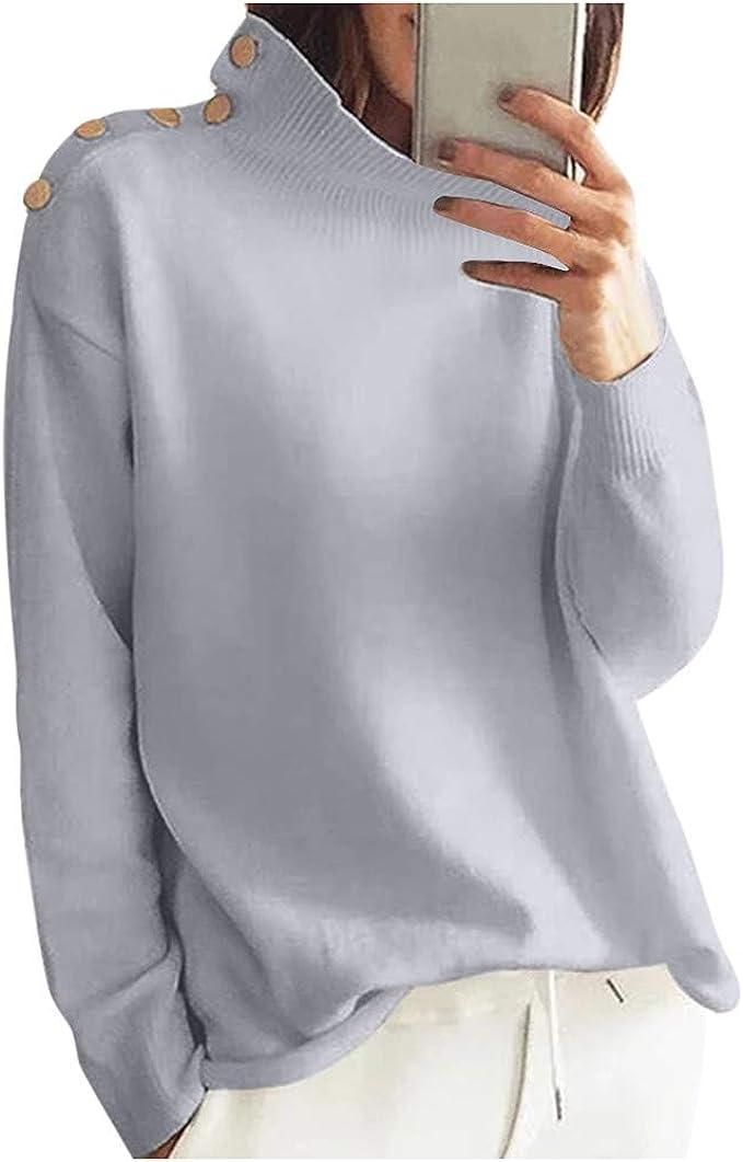 Herren Hoher Hals Rollkragen Wärmer Solide Langarm Stretch Sweater Oberteil DE
