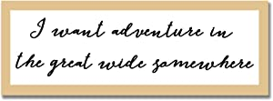 EricauBird Wood Sign,I Want Adventure in The Great Wide Somewhere, Wood Mounted and Framed Typography Mountain Print, Decorative Home Wall Art 6x20