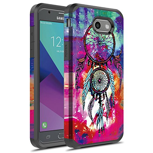 J3 Emerge Case, Galaxy J3 Prime Case, Galaxy Amp Prime 2/Sol 2/J3 Mission/J3 Eclipse/J3 2017/J3 Luna Pro Case, Rosebono Hybrid Shockproof Graphic Fashion Case for SM-J327 (Dream - Eclipse Hybrid