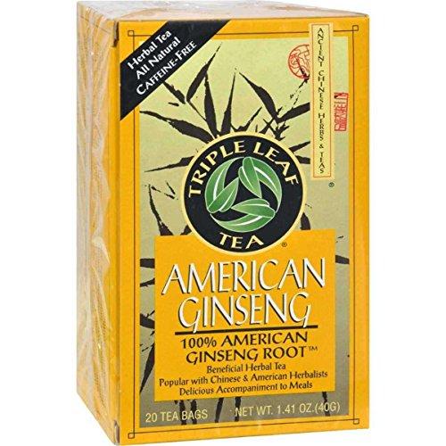 Triple Leaf American Ginseng Root Tea - 20 bags per pack - 6 packs per - Triple Ginseng Tea