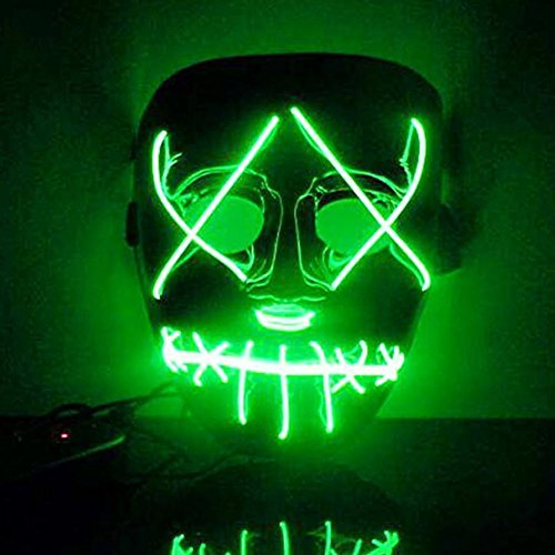 Purge Costumes (Qiancheng Halloween Scary LED Mask Costume El Wire for Festival Party)