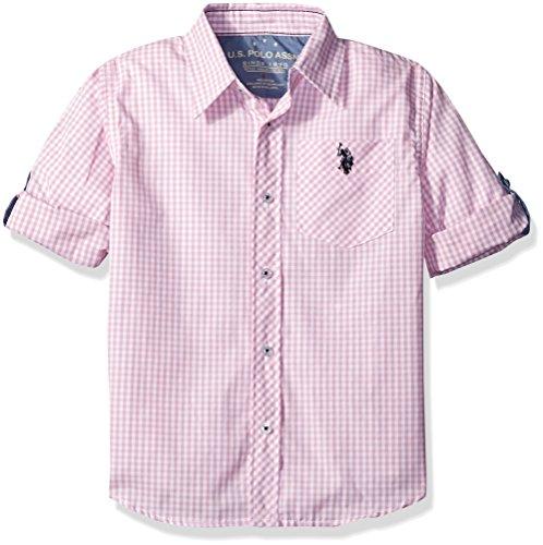U.S. Polo Assn. Boys Long Sleeve Plaid Check Cotton Sport Shirt