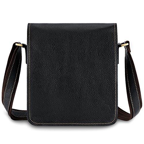 Kattee Leather Flap-Over Sling Business Messenger Bag (Embossed Messenger Bag)