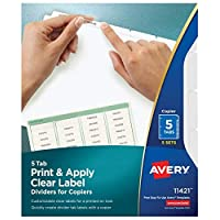 Avery 5-Tab Binder Dividers, Easy Peel Clear Labels para copiadoras, Index Maker, White Tabs, 5 Sets (11421)