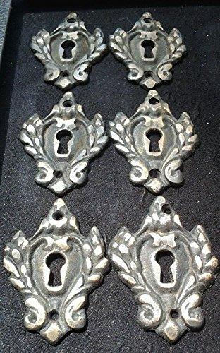 6 Vintage Antique Style Eschutcheon Key Hole Covers Ornate large size 2 1/4