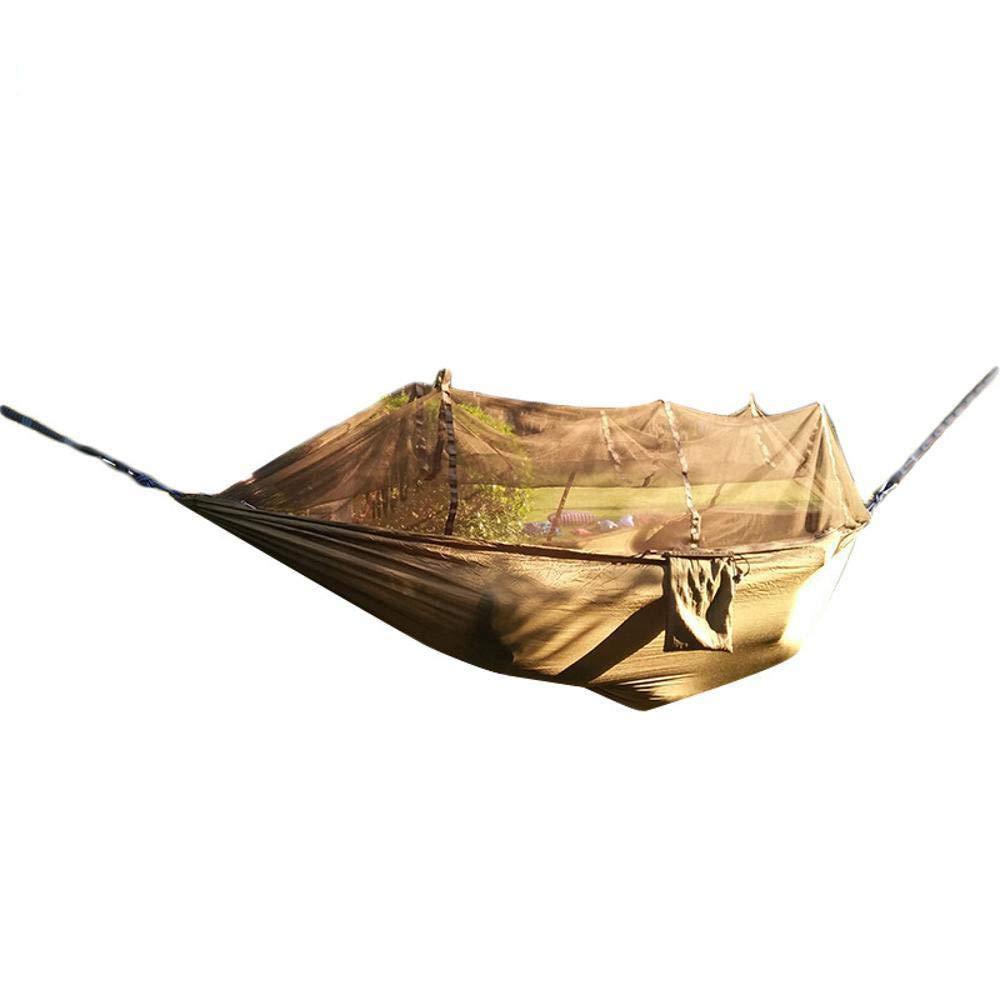 Y-YT Reise Camping Hängematte Tragbare Hängematten Outdoor Nylon Spinning Moskitonetz Ultraleicht Tragbare Single Double Army Grün Hängematte 270  140 cm