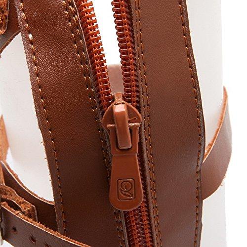 Brown Sandals Open AllhqFashion Heels Toe Womens Zipper PU Zipper Low qpwTzc1q