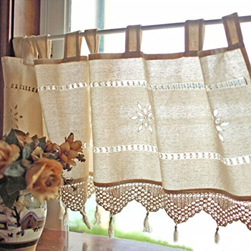 Country Style French Cotton Linen Embroidery Cafe Curtain Home Kitchen Curtain