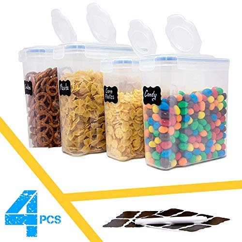 BPA Free Cereal & Dry Food Storage Container Keeper 100% Leakproof seal Lids Plastic Dispenser Keepers Artight Food Storage Containers for Cereal Flour Sugar Coffee set of 4 (4.0 L & 2.5L) ()