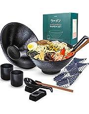 Arjust Ceramic Ramen Bowl Set - Large Ramen Soup Serving Bowls - Japanese Ceramic Bowl Set - 12 pc Microwavable Set for 2 people - Bowl for Ramen Pho Salad Soup - Includes Wood Chopsticks Set