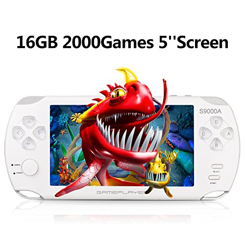 Handheld Game Console, Portable Video Game Console 16GB 5 ''Screen 2000 Classic Games, Support / GBA / GBC / NES / BIN / SMC, Best Birthday and New Year Gifts for Kids-white … by Blue Mars