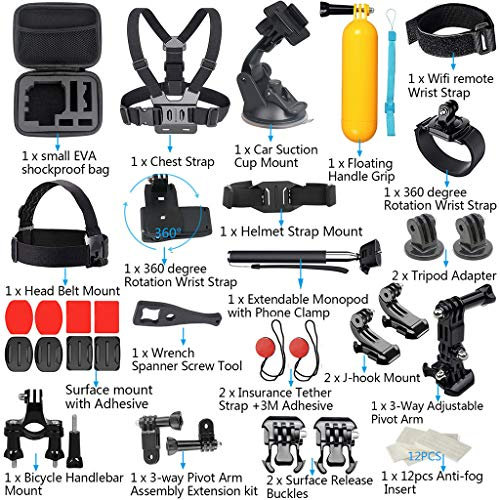 44-in-1 Action Camera Accessories Kit for DJI OSMO Action for GoPro Hero 7,huaquyuedu Accessory Bundle Set for Action Camera Accessory 44 in 1 Bundle Set for DJI OSMO Action for GoPro Hero 7 (A) ()