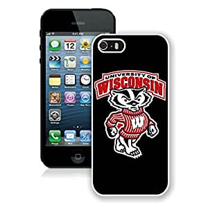 Beautiful Designed Case With Ncaa Big Ten Conference Football Wisconsin Badgers 2 White For iPhone 5S Phone Case
