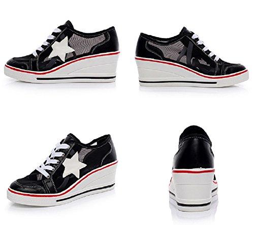 Shoes Canvas Sneakers 0 Shoes black Fashion Pump Heeled Shoes Womens High JiYe Wedge ABwFTyxq55