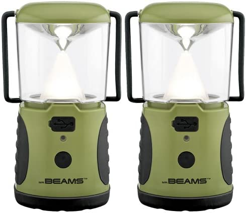 Mr. Beams MB472 UltraBright 260 Weatherproof Lumen LED Lantern with USB Port as a Backup Battery Charger, Green, 2-Pack