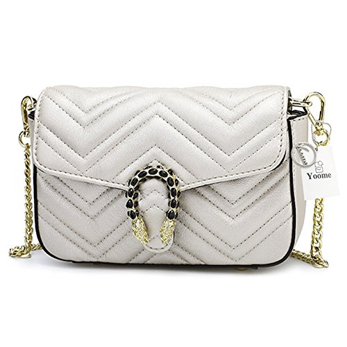 amp; White Ladies Yoome Bag Leather Chain Satchel Fashion Shoulder Evening Quilting Purse dtdPqRw