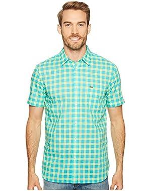 Men's Short Sleeve Poplin Medium Check Regular Fit Woven Shirt