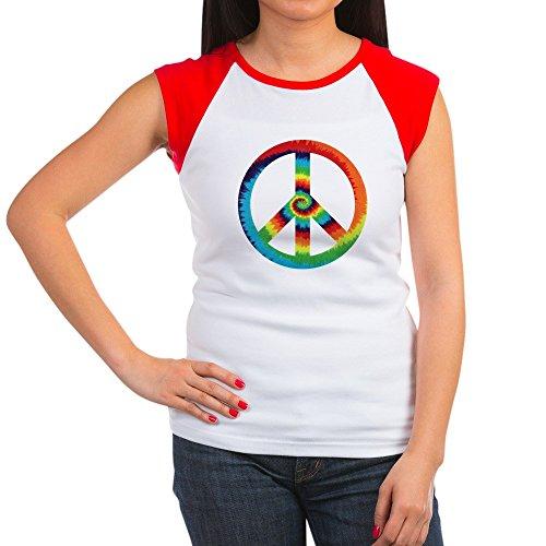 (Royal Lion Women's Cap Sleeve T-Shirt Tye Dye Peace Symbol - Red/White, L (12-14))
