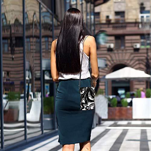 Hdadwy mobiltelefon crossbody väska klassisk svart bläckfisk kvinnor PU-läder mode handväska med justerbar rem