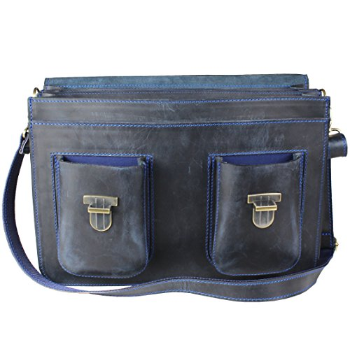 Lehrertasche Aktentasche Leder Blau Model Texas